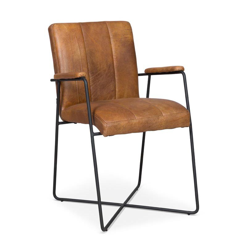 10x Cognac leather dining room chairs Furniture
