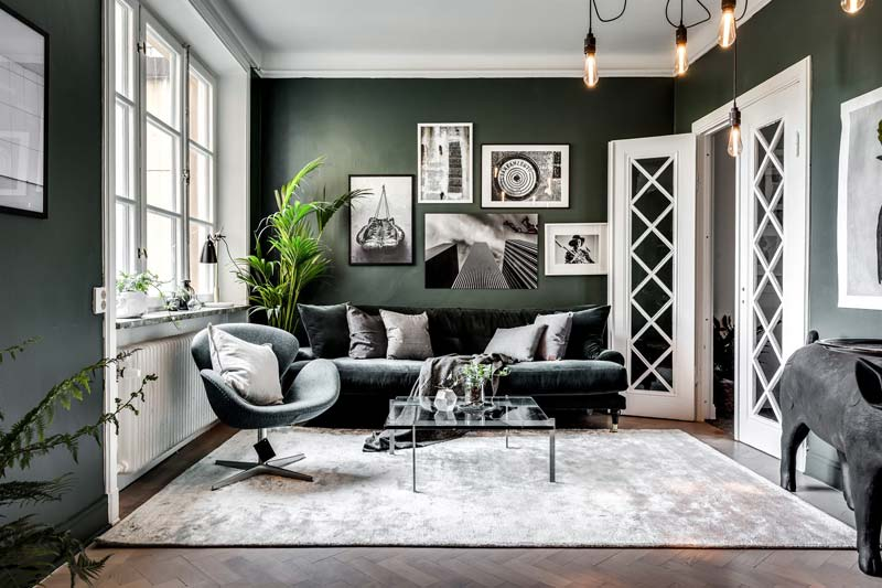 15x Green wall in the living room Living room inspiration