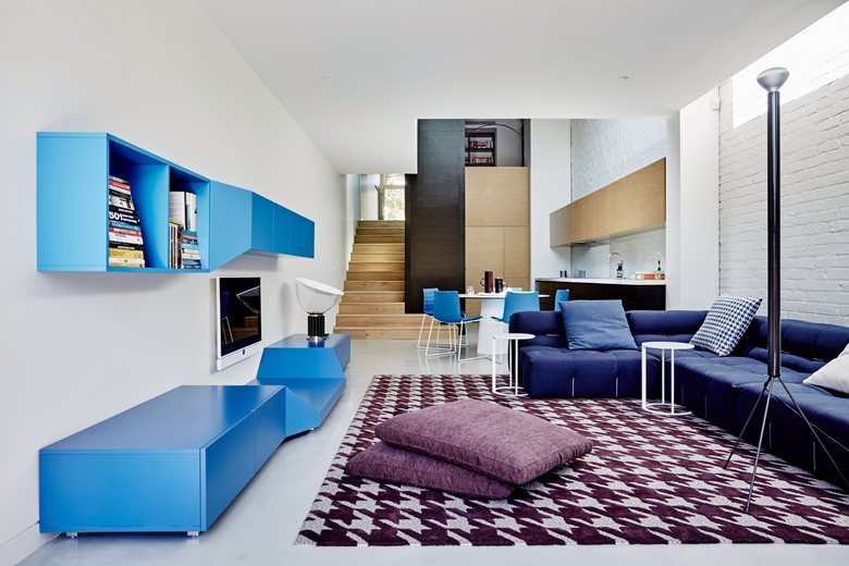 Modern design living room with shades of blue Modern interior